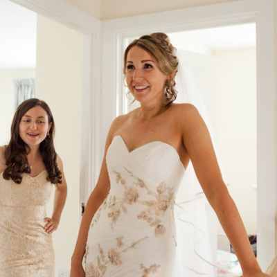 Norfolk wedding photographer – bride with bridesmaid