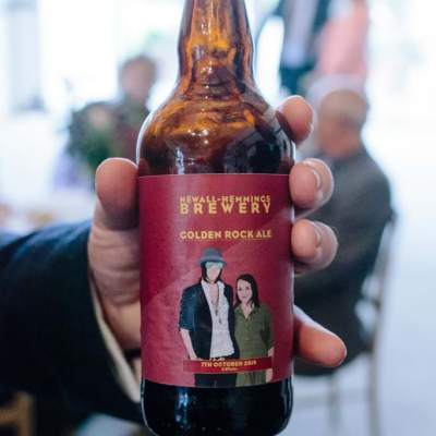Norfolk wedding photographer – bride and groom beer