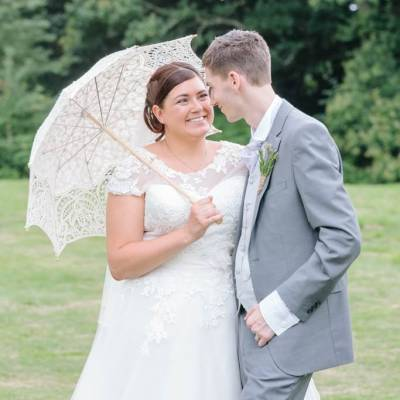 Norfolk wedding photographer – bride and groom umbrella