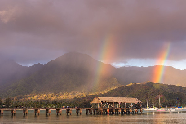 Double Rainbow to Start the Day!Hanalei Pier @ SunriseHanalei Bay, Kauai, Hi. August 2012