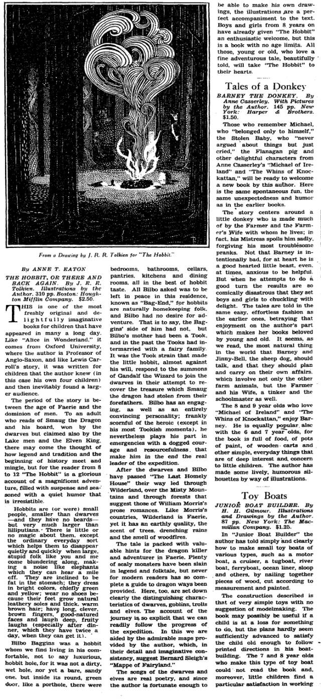 the 1938 New York Times Book Review of the Hobbit