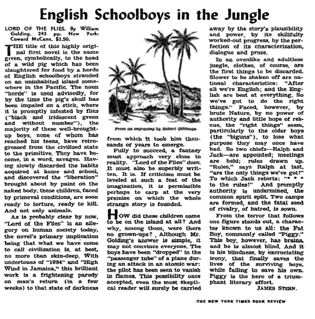 1955 New York Times Book Review of Lord of the Flies