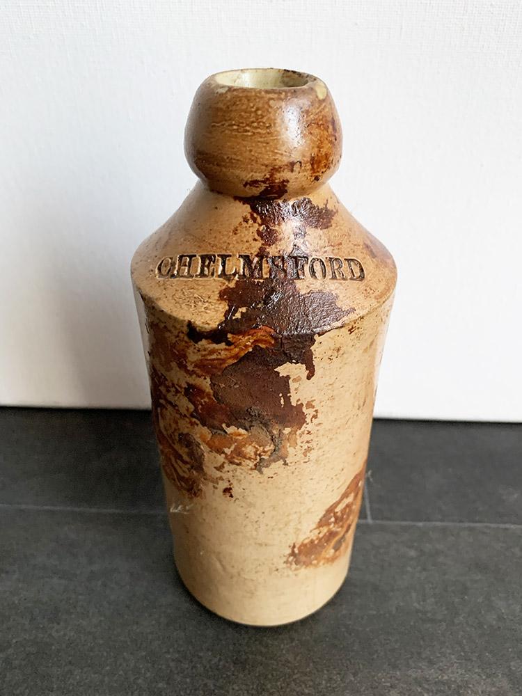 W. Harris / Victorian Stoneware Bottle / Chelmsford