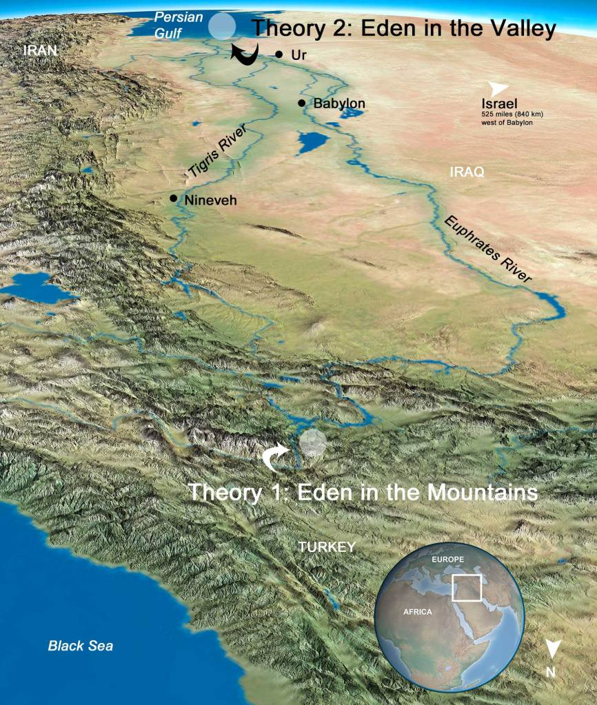 map of theories of location of Garden of Eden, by Stephen M. Miller