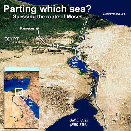 map of Exodus route through the sea