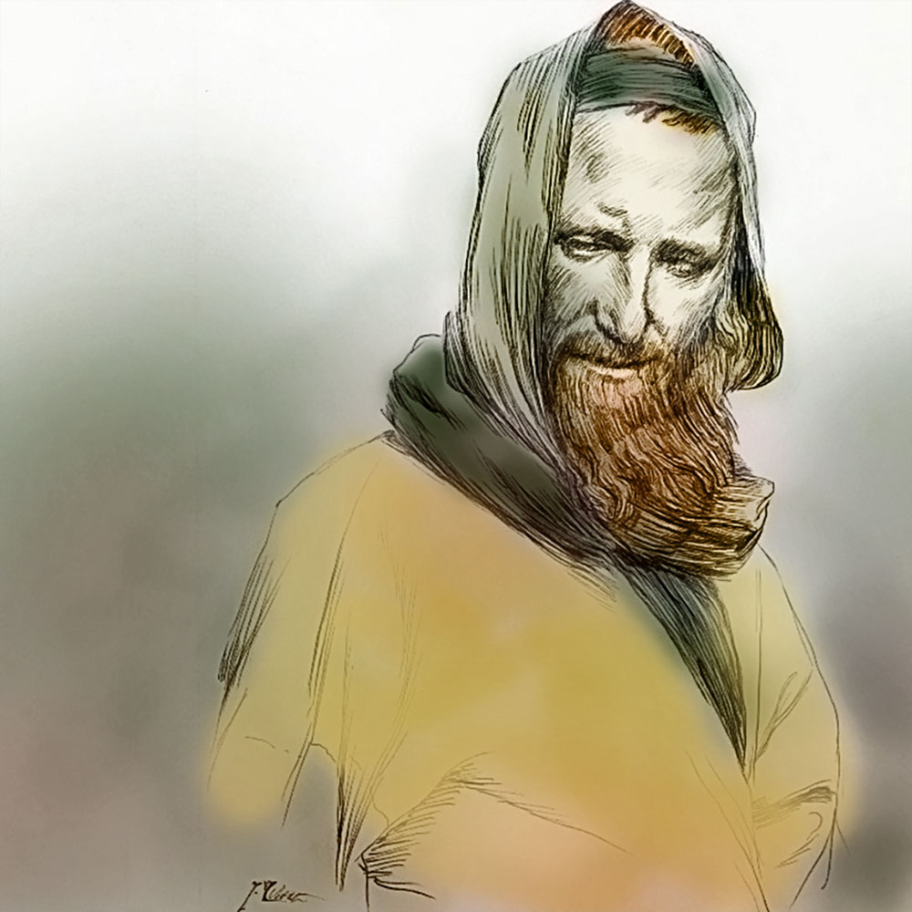 Sketch of man by James Tissot colorized by Stephen M. Miller