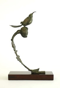 bronze sculpture, sugarbird, sculpture, sugarbird art