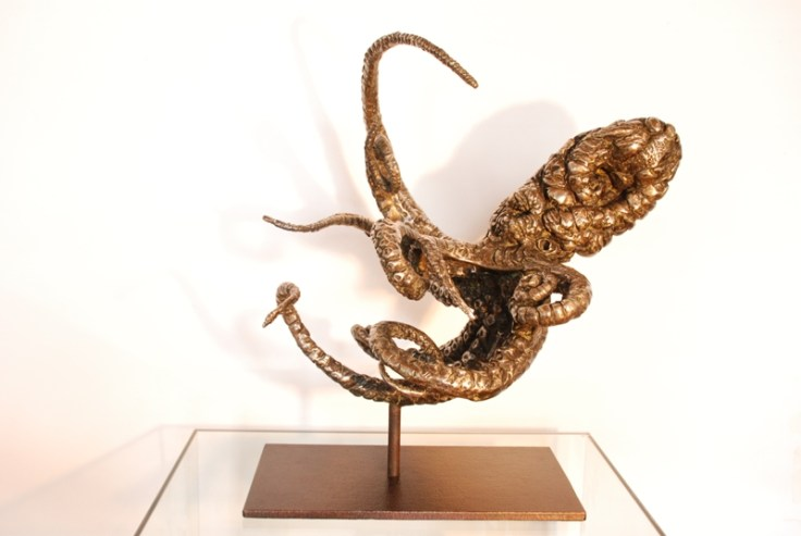 My Big Octopus sculpture on patinated stainless steel