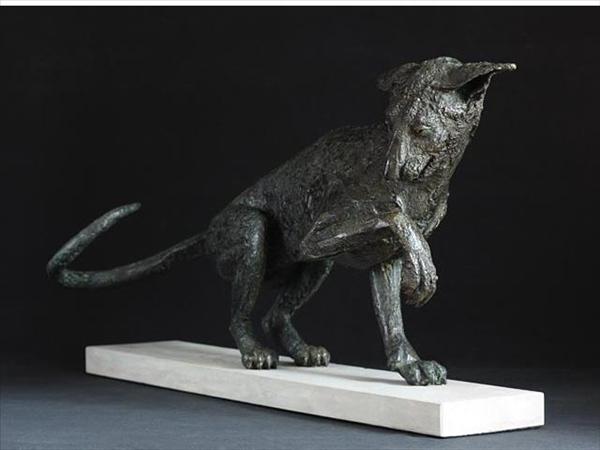 Siamese cat study in bronze