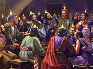 pentecost nations upper jerusalem god together joel disciples apostles holy spirit jesus fire acts tongues praying gathered were heads jews
