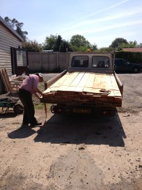 Chris from the sawmill delivers almost a tonne of cedar cladding and planks.