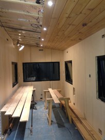 Nine ceiling planks installed and ceiling lights operational