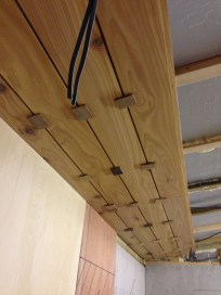 Four ceiling planks installed