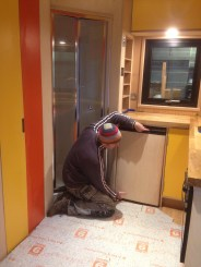 ….. One laminated fridge door in position