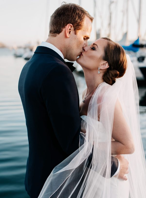 Sunset portrait California Yacht Club wedding