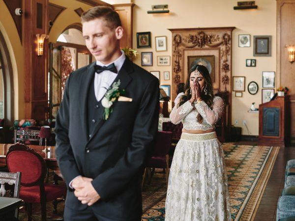 Wedding first look Perch LA