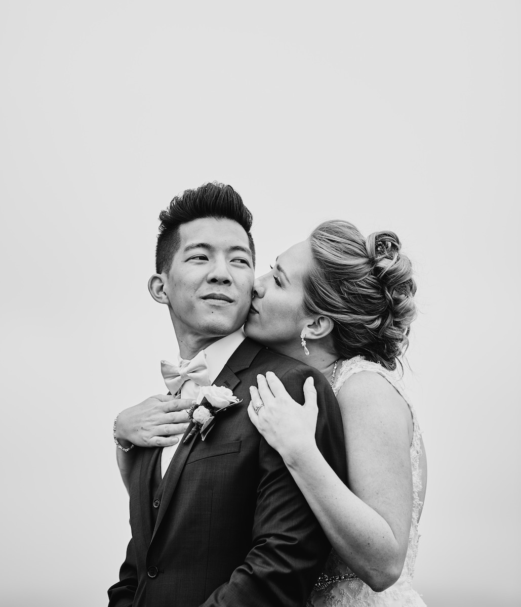 Salvation Army Crestmont College wedding portrait black and white