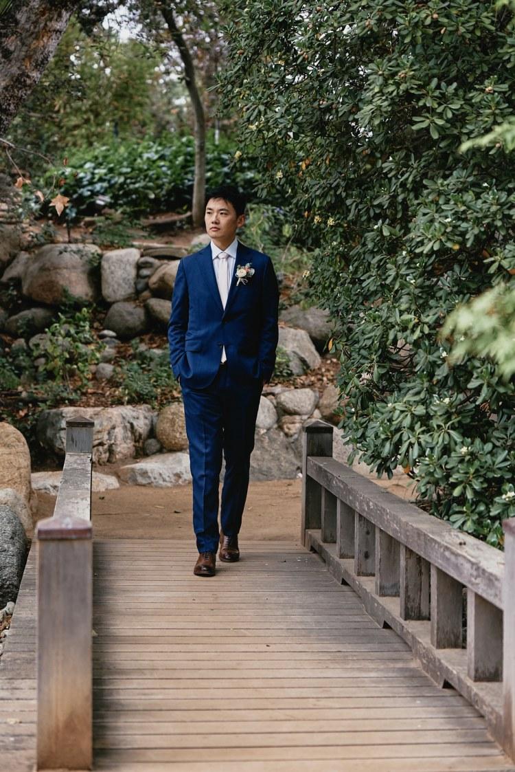 wedding groom storrier stearns japanese garden pasadena