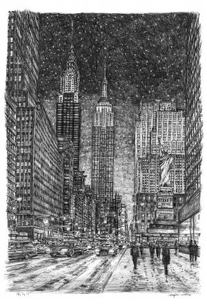 york drawing winter imaginary wiltshire stephen drawings sketch draw prints nyc hard street ny newyork pen ink cities night pencil