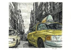 taxi york street cab scene wiltshire stephen drawings drawing taxis paintings prints nyc hard painting artist mbe stephenwiltshire
