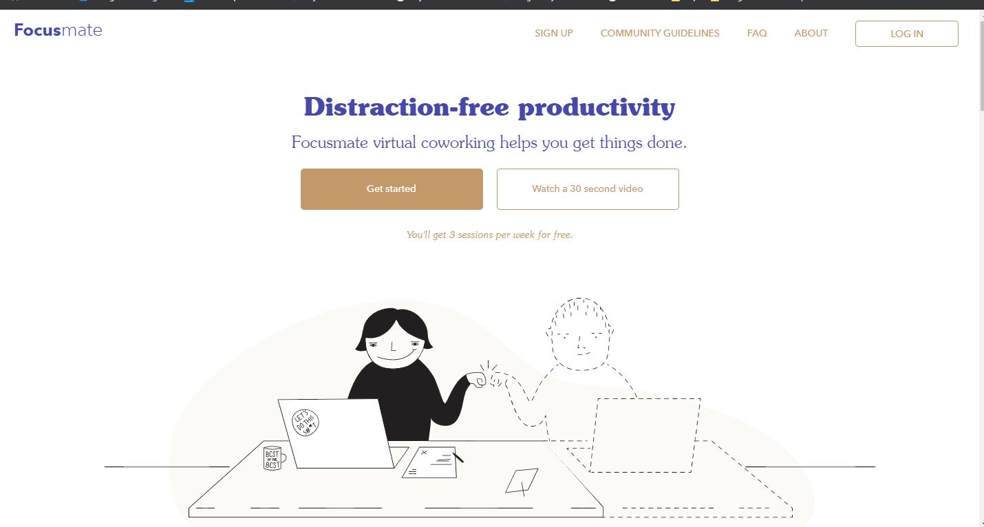 Screenshot of Focusmate homepage