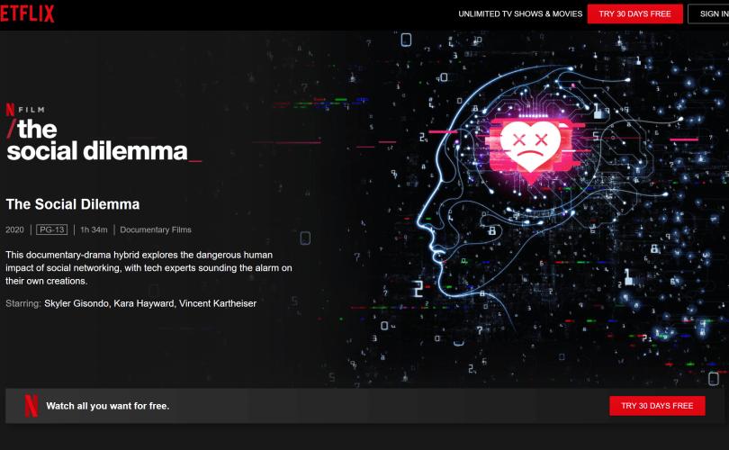 Screenshot Netflix The Social Dilemma page