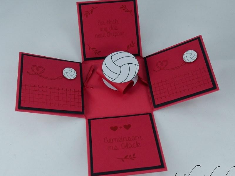 Hochzeitsexplosionsbox in schwarz-rot mit Gedicht