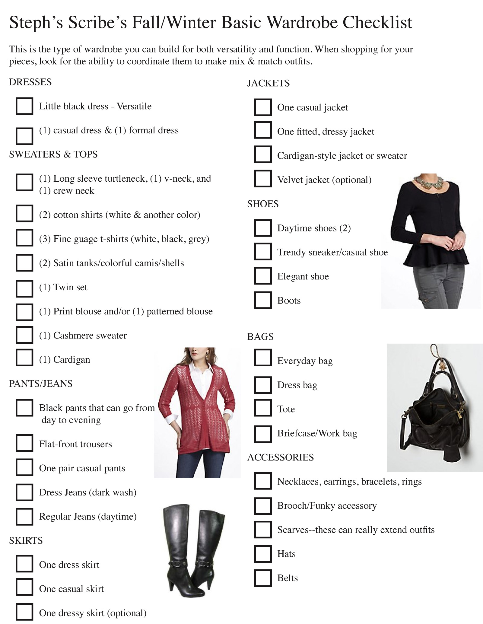 Fall Winter Wardrobe Checklist As We Continue Fashion