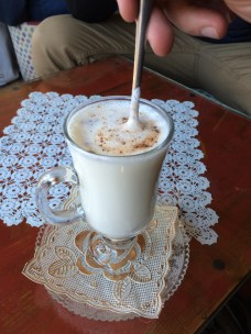 Salep is a hot drink made from ground orchid root. It was served with hot milk but it can be drunk as a dark tea as well.