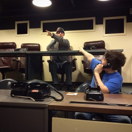 The boys ham it up in the War Room.