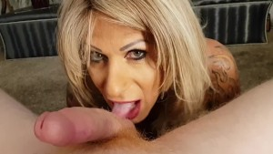 MILF Trans Stepmom gives the best blowjob with