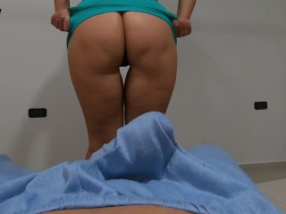 Curvy stepmom tries on miniskirts in front of