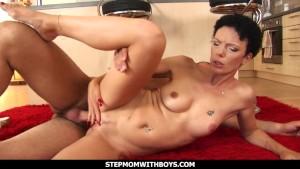 Stepmom With Boys Cock Hungry Slim Milf Sucks And