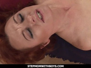 StepmomWithBoys Mature Ginger Gets Boned By
