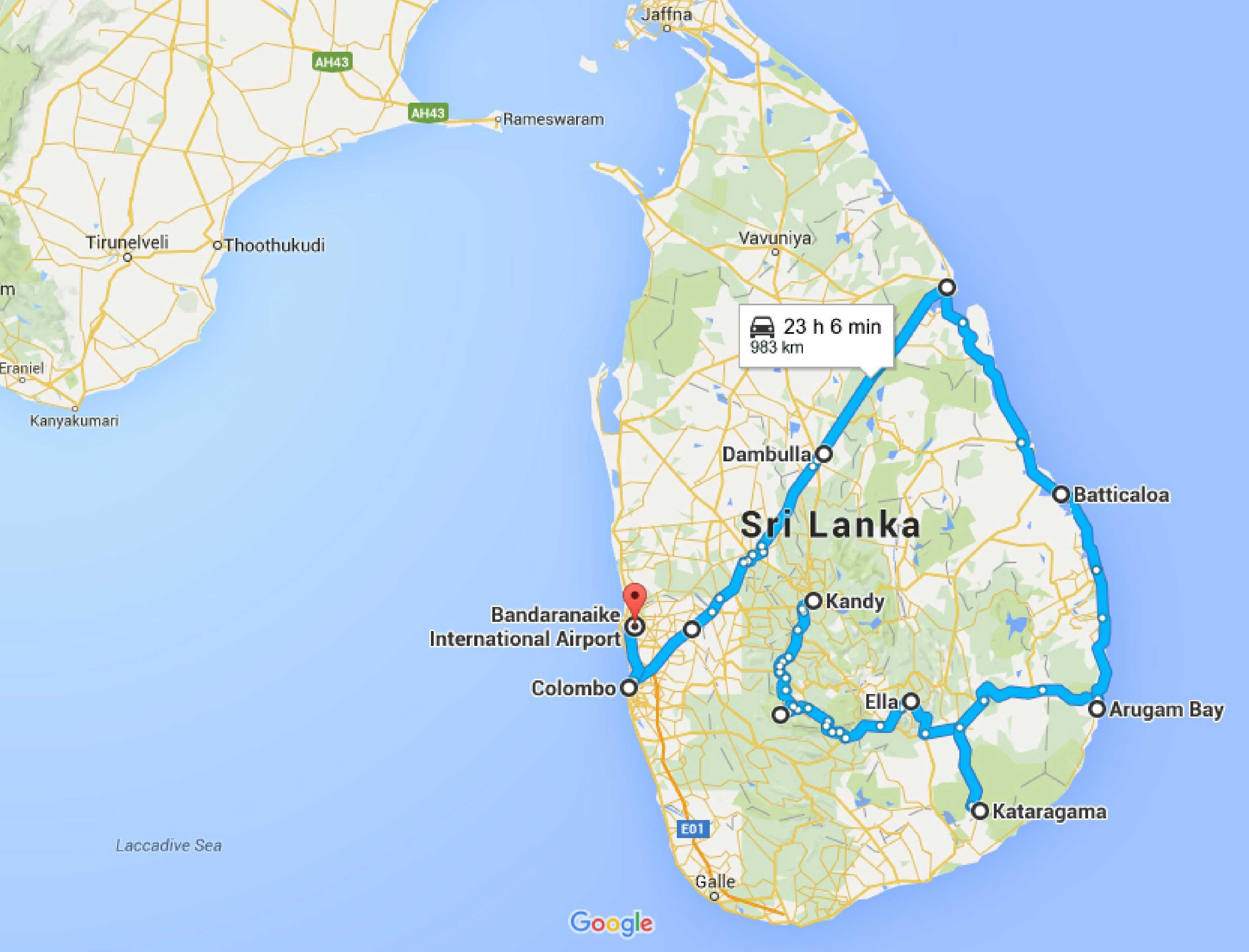 30 days in Sri Lanka: maps, costs and itinerary
