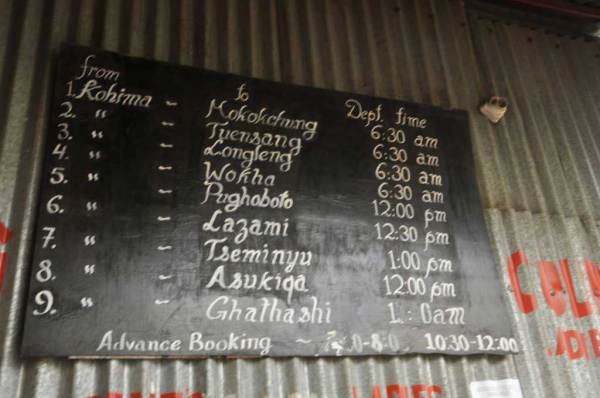 NTC bus schedule from Kohima