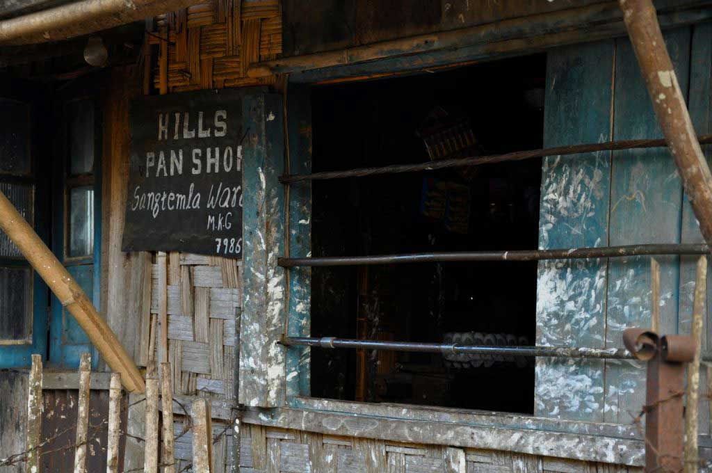 paan shop, that are small stall where the paan is prepared and sold, usually in pack of six. Mokokchung, Nagaland. India