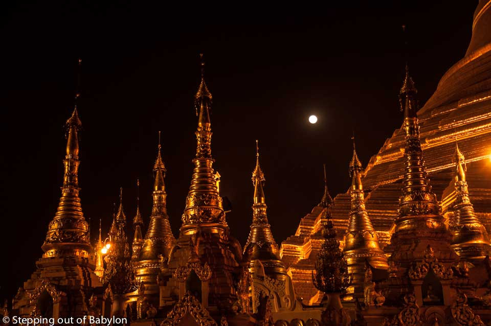 Shwedagon Pagoda at the moonrise