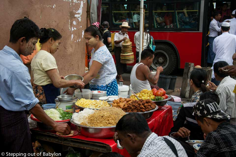 Yangon... where the street food is present everywhere, following a precise but indecipherable schedule, with a paratha stall vanish and replaced by a paan hawker in a blink.