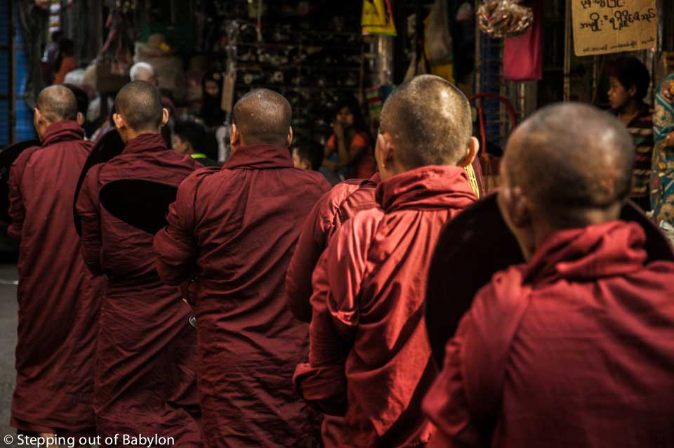 Yangon... here every morning monks walk along the city begging for alms, dyed the street with the maroon color