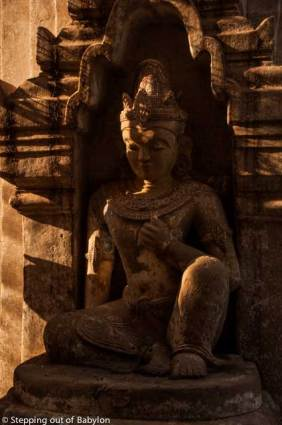 Stone carving decorating he entrance of a temple, Bagan