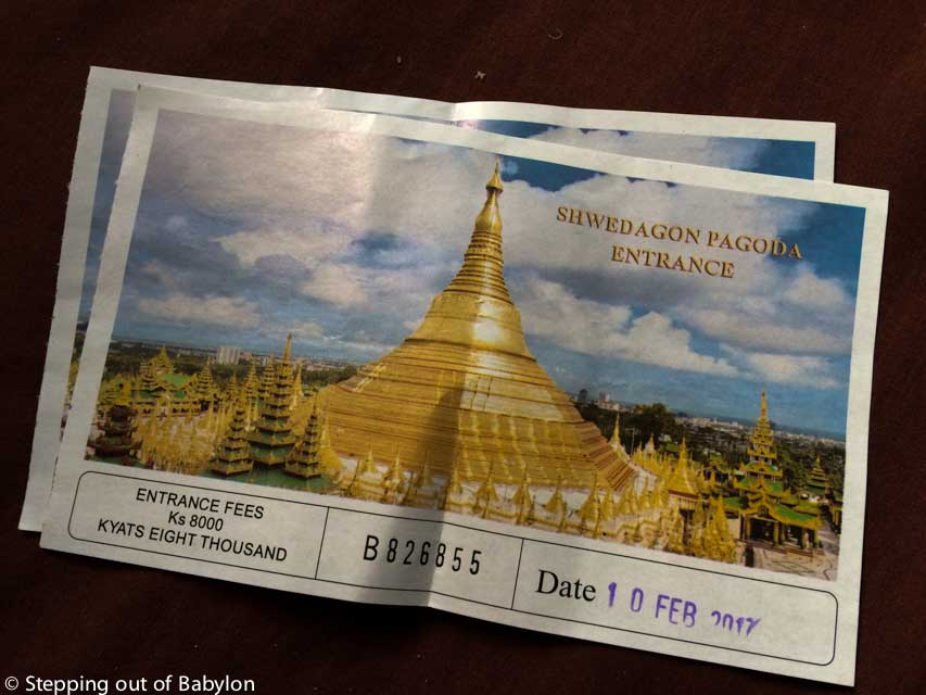 Shewdagon Pagoda ticket