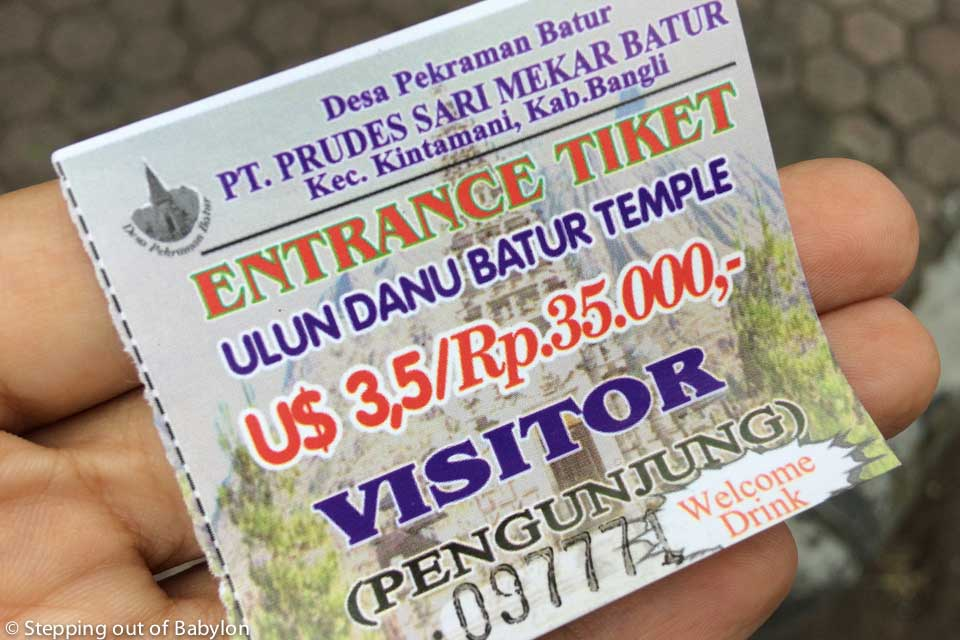 entrance ticket for Pura Ulun Danu Batur