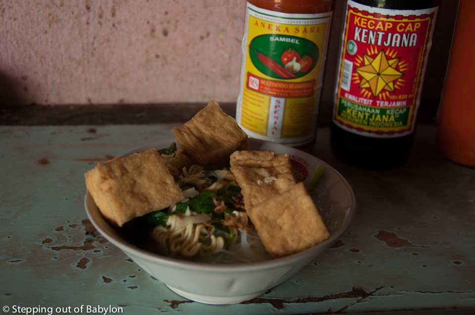 bakso soup in  a vegetarian option with tofu instead of meatballs, Candirejo