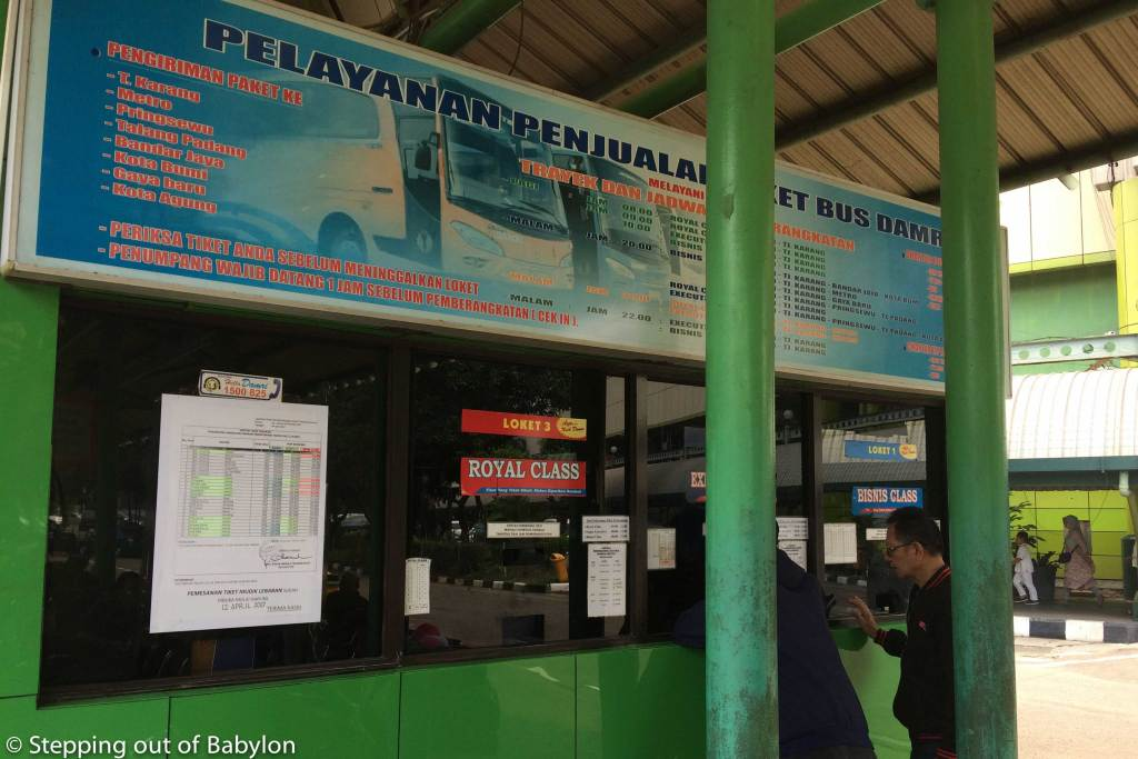 Ticket counter of DAMRI buses at Gambir Terminal