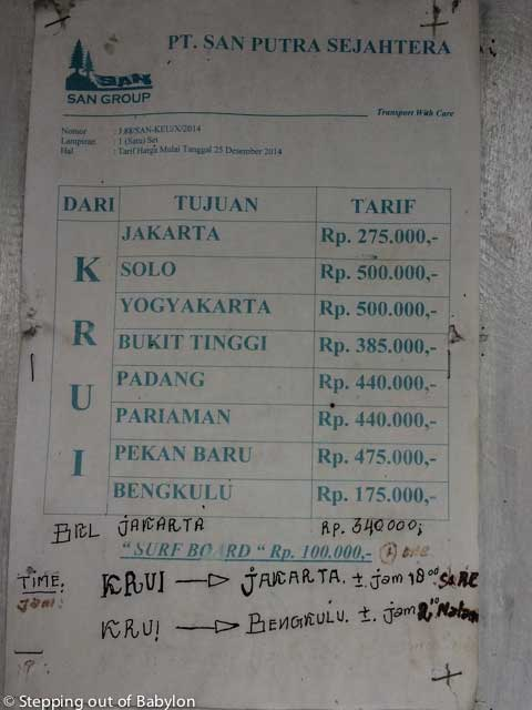 San Travels schedule and prices from Bus from Krui to Bengkulu and other destinations