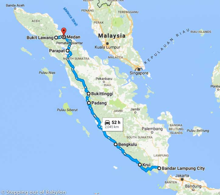 22 days in Sumatra: maps, costs and itinerary