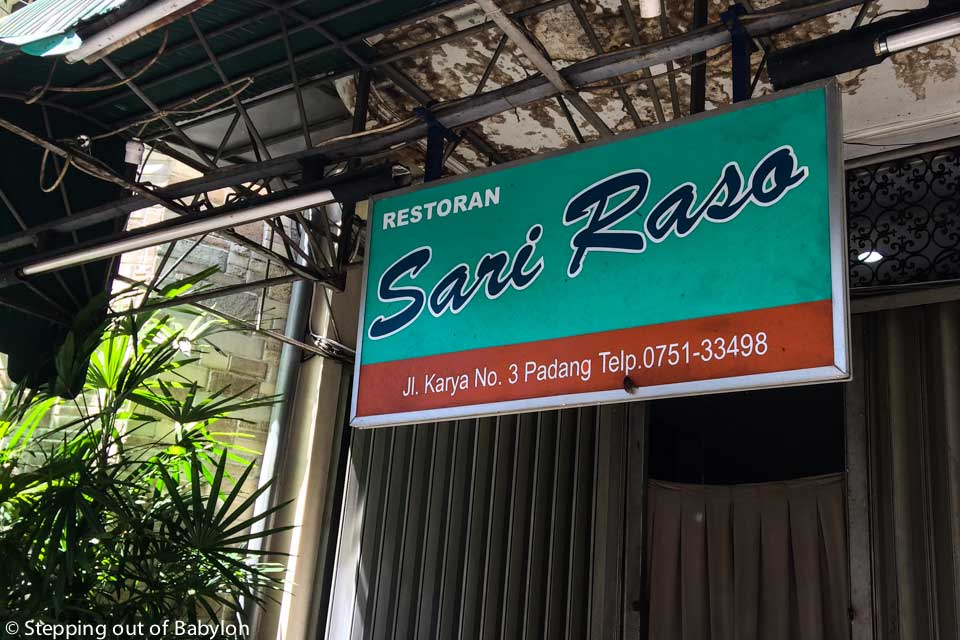 Sari Raso... delicious food, with a lot of vegetarian option... one of the few masakan padang restaurant that was open during the day at Padang