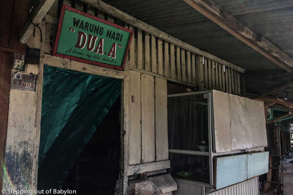 "Warung Nasi ""Dua A"" is open during the Ramadan, when most of the places close during the day"