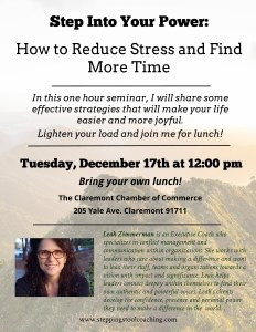 Flyer for the How to Reduce Stress Workshop